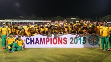 The Bijapur Bulls players pose after their win
