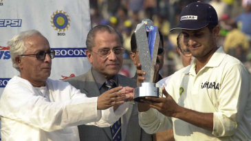 Sourav Ganguly receives the series trophy in the company of Jagmohan Dalmiya