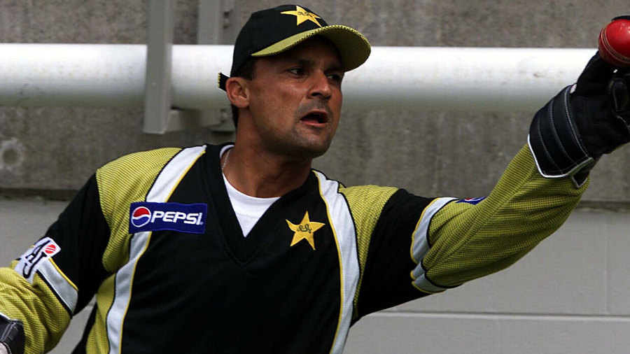 Moin Khan takes a catch at training