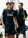 S Aravind and Stuart Binny have a chat before India's camp at the National Cricket Academy, Bangalore, September 22, 2015