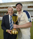 Andrew Gale and Dickie Bird hold the trophy after Yorkshire won the County Championship, Middlesex v Yorkshire, County Championship, Division One, Lord's, September 12, 2015