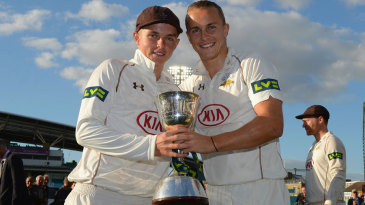 Sam and Tom Curran pose with the Division Two trophy
