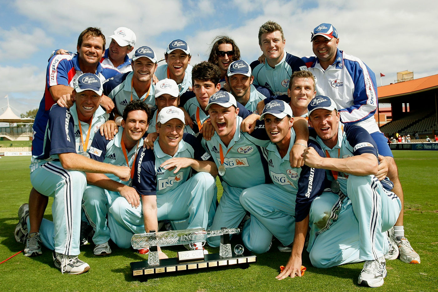The survivors: New South Wales clung on through Tait's spells and won the final by one wicket