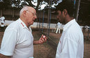 Frank Tyson gives tips to a young Indian bowler, India, 2002