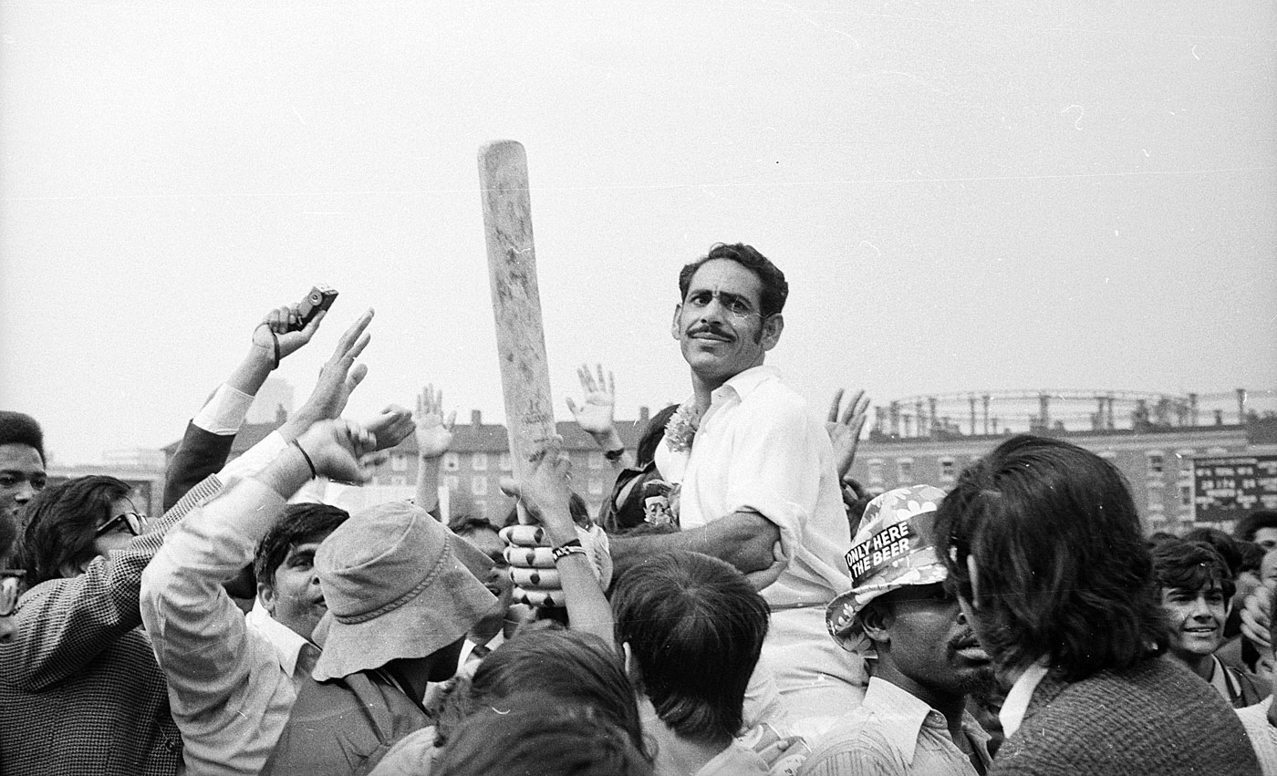 Syed Abid Ali is carried off the field by fans after securing India's series win