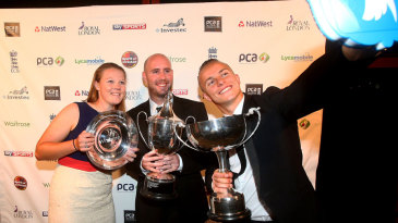 Anya Shrubsole, Chris Rushworth and Tom Curran celebrate their success at the PCA awards function