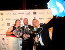 Anya Shrubsole, Chris Rushworth and Tom Curran celebrate their success at the PCA awards function, London, September 29, 2015
