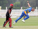 Christi Viljoen bowls, Canada v Namibia, ICC World Twenty20 Qualifier, Group A, Abu Dhabi, November 23, 2013