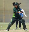 Aliya Riaz cuts during her innings of 20, Pakistan v Bangladesh, 2nd women's T20I, Karachi, October 1, 2015