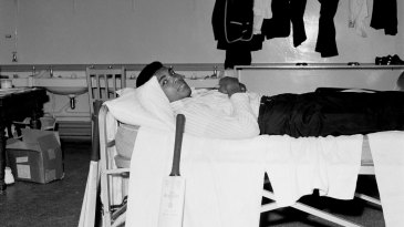 Muhammad Ali relaxes in the West Indies dressing room at Lord's