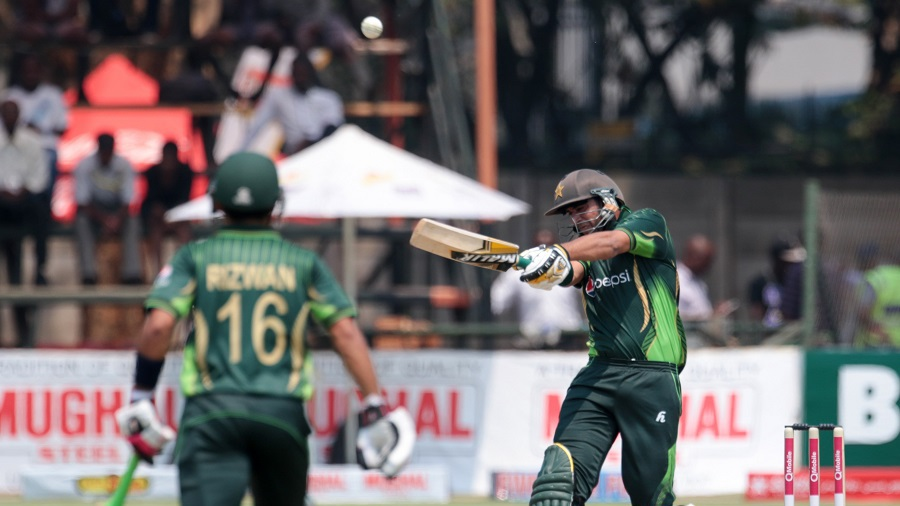 Imad Wasim forces the ball away into the leg side