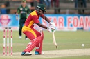Brian Chari plays a late cut, Zimbabwe v Pakistan, 1st ODI, Harare, October 1, 2015