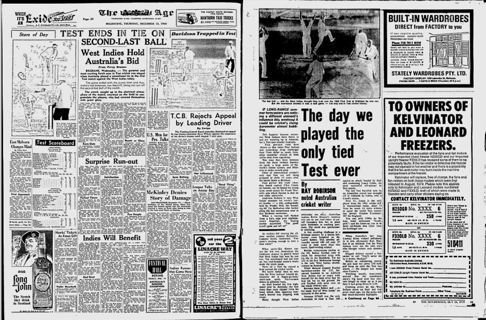 The <i>Age</i> reports the tied Test in 1960; in the <i>Sydney Morning Herald</i> Ray Robinson looks back at the match when the West Indies visit in 1975