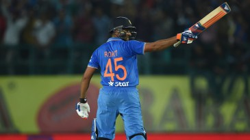 Rohit Sharma brings up his maiden T20I hundred