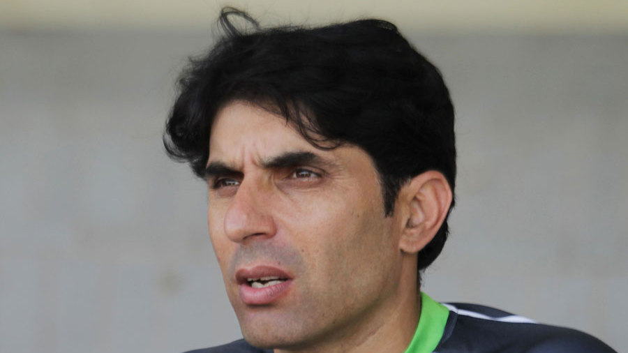 Misbah-ul-Haq speaks to reporters in Lahore
