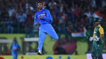 S Aravind leaps after his maiden international wicket