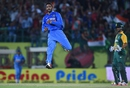 S Aravind leaps after his maiden international wicket, India v South Africa, 1st T20, Dharamsala, October 2, 2015