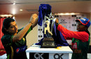 Sana Mir and Salma Khatun, the captains of the Pakistan and Bangladesh women's teams, unveil the ODI series trophy, Karachi, October 3, 2015