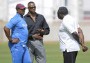 Phil Simmons, Courtney Walsh and Clive Lloyd have a chat, Jamaica, June 9, 2015