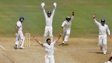 Karun Nair unsuccessfully appeals for an lbw