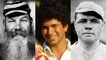 Composite: WG Grace, Sachin Tendulkar and Babe Ruth