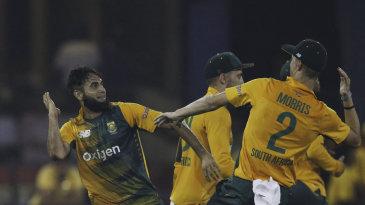 Imran Tahir and Chris Morris prepare for a high five