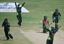 The Pakistan players celebrate the dismissal of Jahanara Alam, Pakistan Women v Bangladesh Women, 2nd ODI, Karachi, October 6, 2015