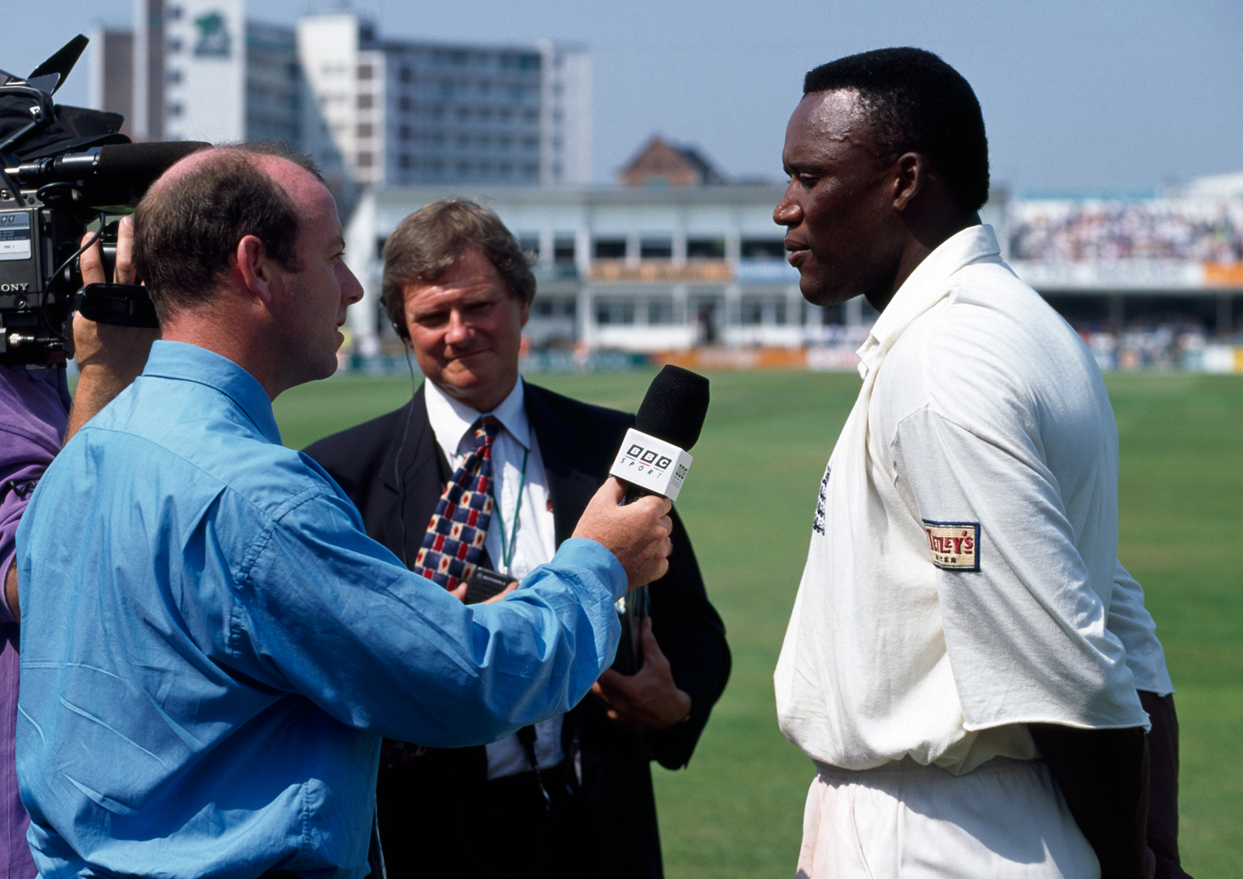 Malcolm talks to Simon Hughes during the Trent Bridge Test where he got stuck into Glenn McGrath