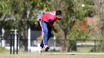 Ali Khan runs in to bowl during a trial match
