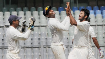 Shardul Thakur celebrates after taking a wicket