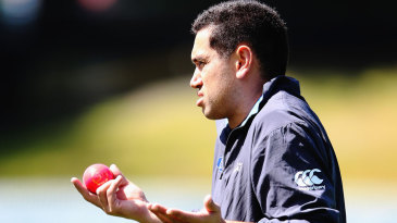 Ross Taylor gestures with the pink ball in hand