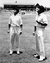Don Bradman and Wally Hammond at the toss, Australia v England, 1st Test, Brisbane, 1st day, November 29, 1946