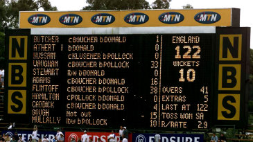 The scoreboard shows England's poor total