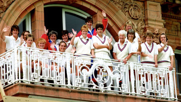 The England with coach Ruth Prideaux team pose on the Lord's balcony