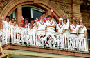 The England with coach Ruth Prideaux team pose on the Lord's balcony, England v New Zealand, women's World Cup final, Lord's August 1, 1993