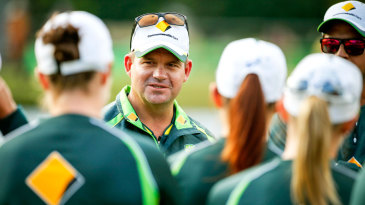 Coach Matthew Mott talks to players during the match between the National Indigenous Development Squad and the Southern Stars at Allan Border Field