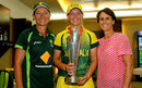 Coach Cathryn Fitzpatrick, captain Meg Lanning and ICC women's committee member Belinda Clark pose with the World T20 trophy, Australia v England, Women's World T20, final, April 6, 2014