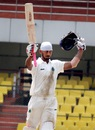 Arun Karthik celebrates his century, Assam v Rajasthan, Ranji Trophy 2015-16, Group A,  3rd day, Guwahati