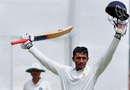 Shreyas Gopal raises his bat after reaching a century, Karnataka v Bengal, Ranji Trophy, Group A, 3rd day, Bangalore