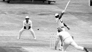 Malcolm Marshall hits the ball one-handed
