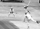 Malcolm Marshall hits the ball one-handed, England v West Indies, third Test, third day, Headingley, July 14, 1984
