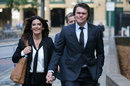 Lou Vincent arrives at Southwark Crown Court with his partner, London, October 12, 2015