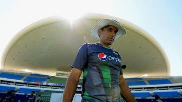 Misbah-ul-Haq leads his players out at practice