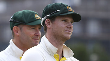 Steven Smith and Michael Clarke at the presentation