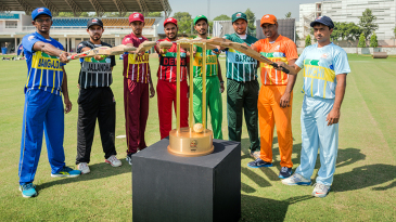 Captains of the eight qualifying teams pose for a portrait during the Quarter Finals of the Red Bull Campus Cricket National Finals 2015