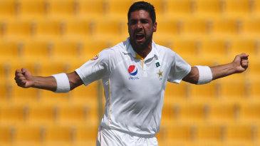 Imran Khan celebrates Pakistan's first wicket