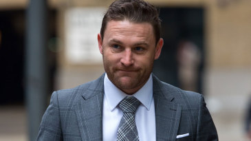 Brendon McCullum arrives to give evidence in Chris Cairns' perjury trial