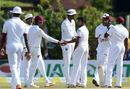 Devendra Bishoo is congratulated after dismissing Nuwan Pradeep, Sri Lanka v West Indies, 1st Test, Galle, 2nd day, October 15, 2015