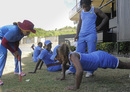 Hayley Matthews does push ups in the presence of Deandra Dottin and Merissa Aguilleira, St Lucia, October 14, 2015