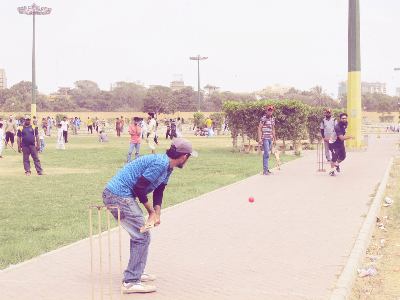No walking, please: the renovated Polo Ground often holds 500 players, taking up every inch of space